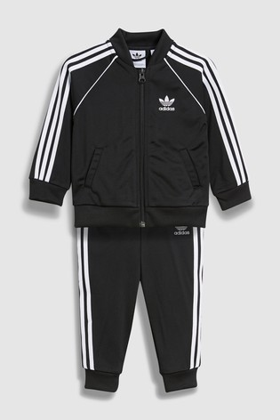 adidas 3 Stripe Poly Tracksuit Baby Boys