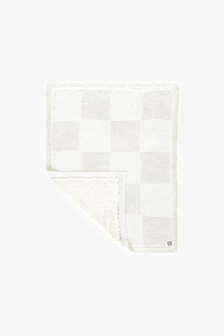 The Little Tailor Cream Baby Knitted Lined Shawl Blanket