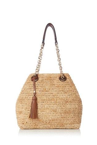 Dune London Delliah Natural Raffia Slouch Bag