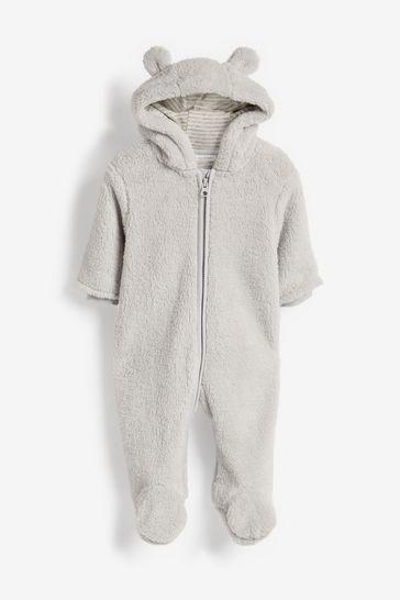 Grey Cosy Fleece Bear Pramsuit (0mths-2yrs)