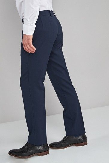 Navy Tailored Fit Machine Washable Plain Front Trousers