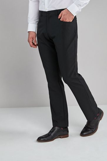 Black Regular Fit Five Pocket Jean Style Trousers