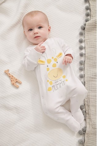 White I Love My Mummy Giraffe Sleepsuit (0-18mths)