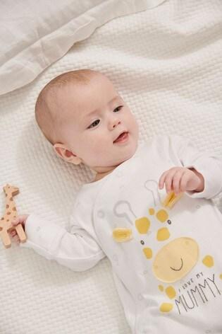 White I Love My Mummy Giraffe Sleepsuit (0-18mths)