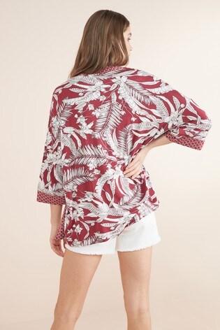 Berry Tropical Print Kimono Cardigan