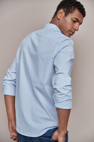 Blue Regular Fit Stripe Stag Shirt
