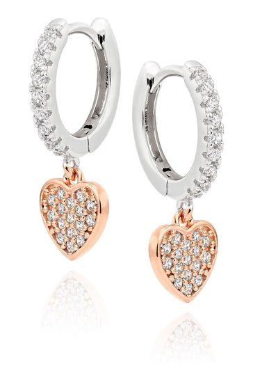 Beaverbrooks Cubic Zirconia Heart Charm Hoop Earrings