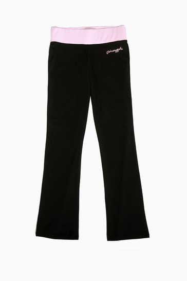 Pineapple Black Contrast Band Boot Cut Jersey Trousers