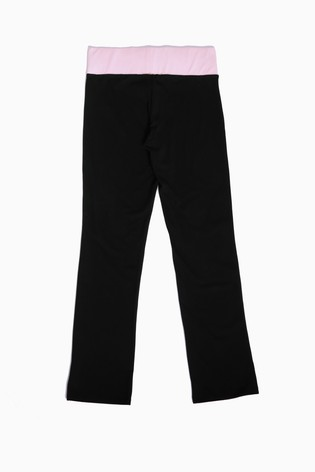 Pineapple Black/Pink Contrast Band Boot Cut Jersey Trousers