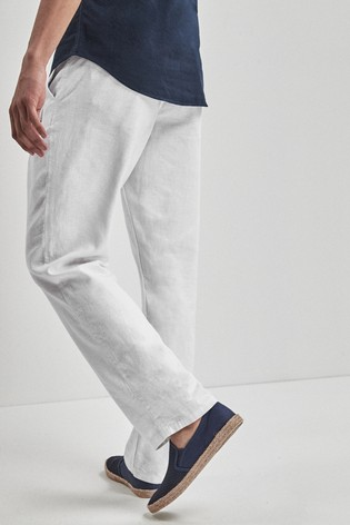 White Linen Blend Drawstring Trousers