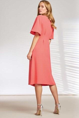 Pure Collection Orange V-Neck Soft Crepe Dress