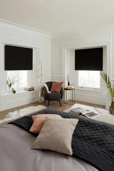 Black Glitter Blackout Roller Blind