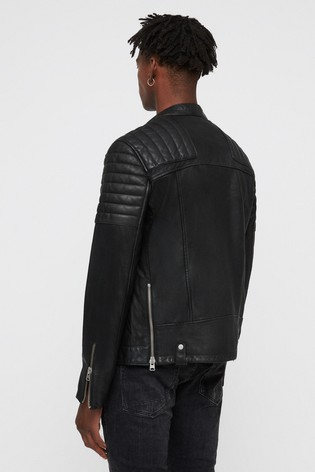 AllSaints Black Jasper Leather Biker Jacket