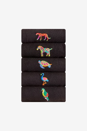 Black Animal 5 Pack Embroidered Socks