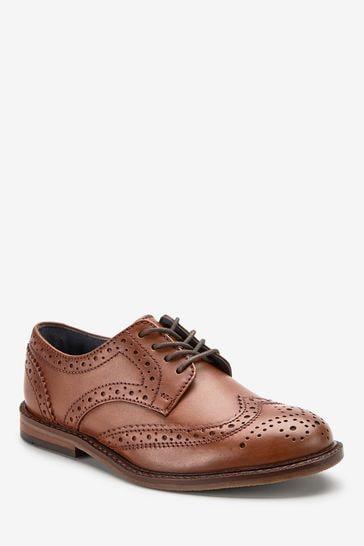 Tan Standard Fit (F) Leather Brogues