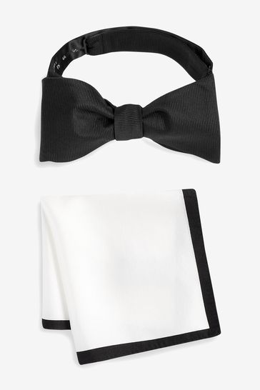 Black/White Signature Self-Tie Bow Tie And Pocket Square Set