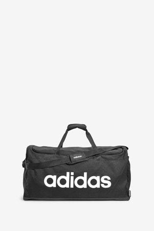 adidas Large Black Linear Logo Duffle Bag