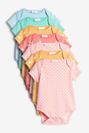 Multicolour 7 Pack Short Sleeve Bodysuits (0mths-3yrs)