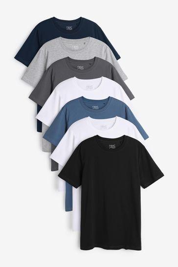 Blue Mix Slim Fit Regular Fit Crew Neck T-Shirts 7 Pack