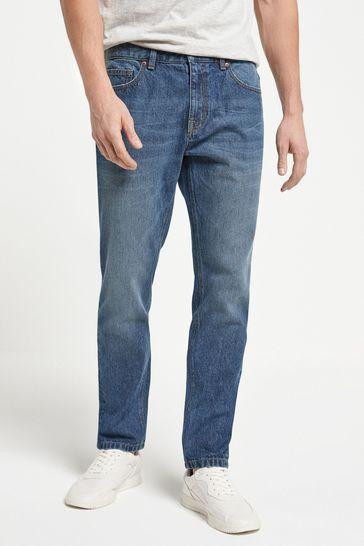 Vintage Wash Slim Fit Cotton Rigid Jeans