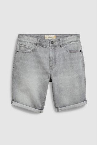 Grey Straight Fit Denim Shorts