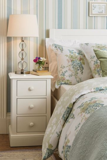 Ashwell Cotton White 3 Drawer Bedside Chest
