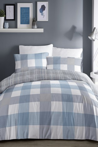 Fusion Barcelona Check Duvet Cover And Pillowcase Set