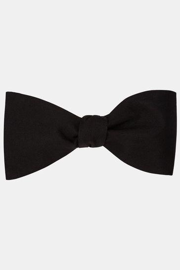 Moss 1851 Black Self Tie Silk Bow Tie