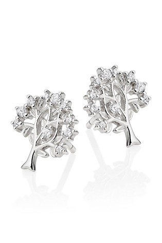 Beaverbrooks Silver Cubic Zirconia Tree Earrings