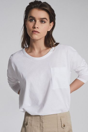 Reiss White Cassie Cotton Jersey Long Sleeved T-Shirt