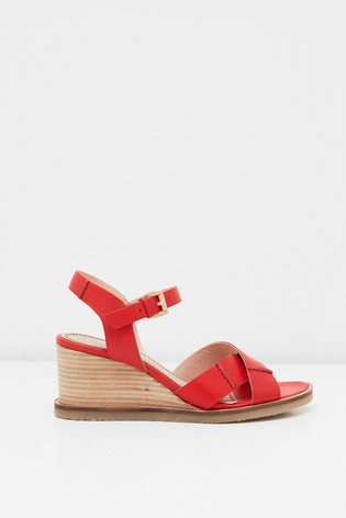 White Stuff Crossover Leather Wedge Sandals