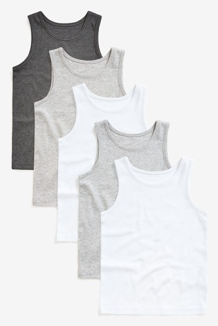 Grey 5 Pack Vests (1.5-16yrs)