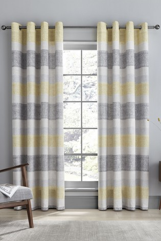 Catherine Lansfield Tallin Stripe Lined Eyelet Curtains