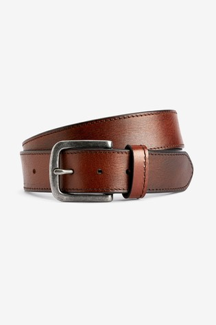 Brown Leather Casual Stitched Edge Belt