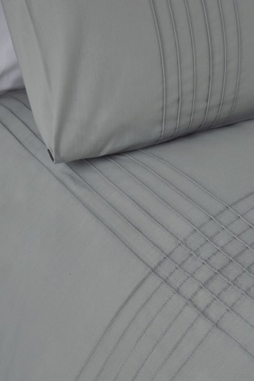 Serene Grey Amalfi Easy Care Pintuck Detail Duvet Cover And Pillowcase Set