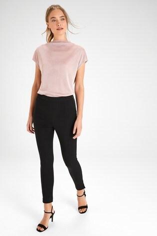 Black Side Zipped Jersey Denim Leggings