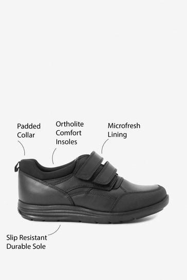 Black Standard Fit Leather Double Strap Shoes (Older)