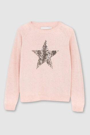 Mintie by Mint Velvet Pink Animal Sequin Star Jumper