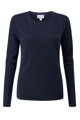 Pure Collection Blue Cashmere Original Crew Neck Sweater