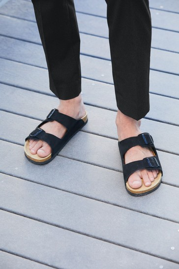 Black Two Buckle Leather Sandals