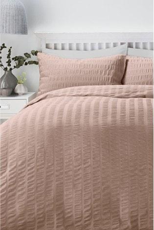 Serene Blush Seersucker Duvet Cover And Pillowcase Set