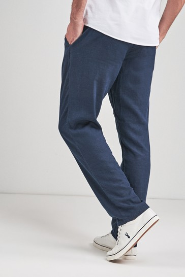 Navy Linen Blend Drawstring Trousers
