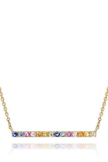 Beaverbrooks 9ct Multi Coloured Sapphire Necklace
