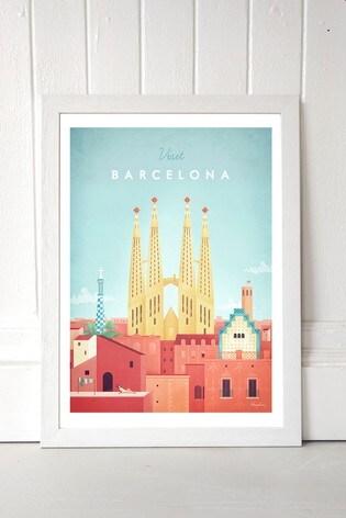 Visit Barcelona by Henry Rivers Framed Print
