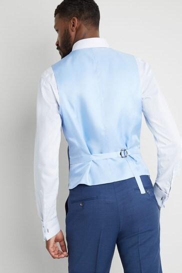 Moss 1851 Tailored Fit Blue Sharkskin Waistcoat