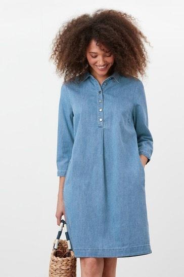Joules Blue Stella Pop Over Denim Dress