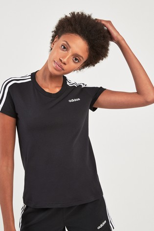 adidas Black 3 Stripe Linear Tee