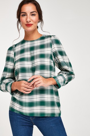 Teal Check Puff Sleeve Blouse