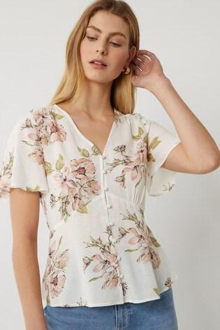Warehouse Natural Floral Button Through Tea Top