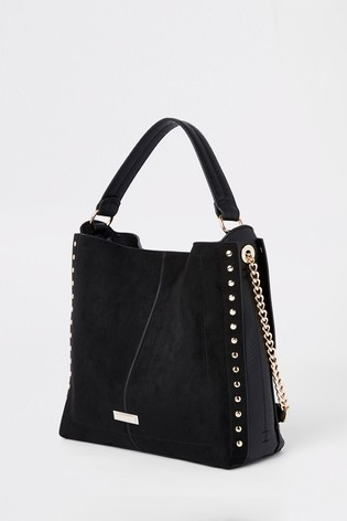lace up in fashion best wholesaler River Island Black Stud Side Slouch Bag